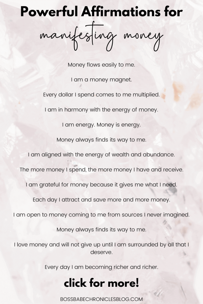 Affirmations for manifesting money