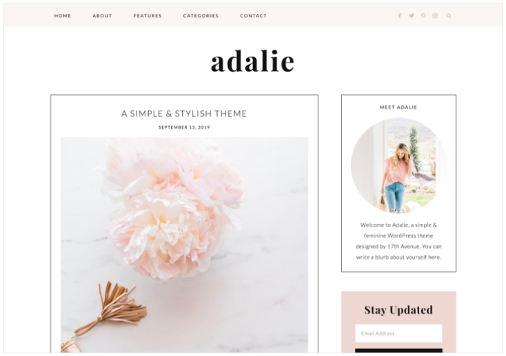 Adalie Feminine WordPress Theme